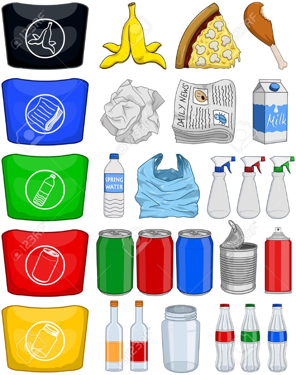 38491827-Ilustraci-n-vectorial-paquete-de-aluminio-y-vidrio-elementos-org-nicos-papel-pl-stico-para-su-recicl-Foto-de-archivo